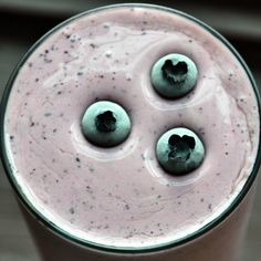 A breakfast of blueberry maple pancakes in protein shake form. Healthy, easy, delicious.