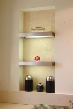 Light up your home decor with this innovative shelving design. Shelving Design, Bespoke Kitchens, Bespoke Furniture, A Shelf, Light Up, Floating Shelves, Detail, Room, Beauty