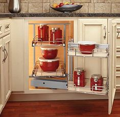 Buy the Rev-A-Shelf Maple Direct. Shop for the Rev-A-Shelf Maple Two Tier Left Door Mount Blind Corner Pull Out Organizer for Blind Right Corner Cabinets and save. Kitchen Storage Solutions, Kitchen Cabinet Organization, New Kitchen Cabinets, Kitchen Cabinet Design, Storage Cabinets, Cabinet Organizers, Kitchen Redo, Cabinet Shelving, Shaker Kitchen
