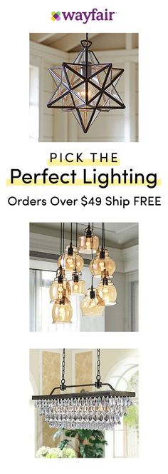 Lighting Visit Wayfair For Access To Exclusive Sales All At Up To 70 Off Save Big On Brig - Kronleuchter Overhead Lighting, Dining Room Lighting, Home Lighting, Lighting Ideas, Cabin Lighting, Industrial Lighting, Bedroom Lighting, Kitchen Lighting, Room Lights