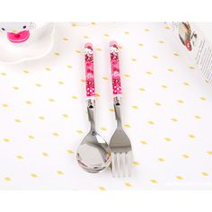 Hello Kitty Spoon Fork Set Pink Cute Child Kids Girls Lunch Eating Dinner Table #HelloKitty