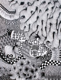 Zentangle by Student/Artist's Name: Lindsay Smithberg. School: Thunder Mountain High School. Grade: 11th