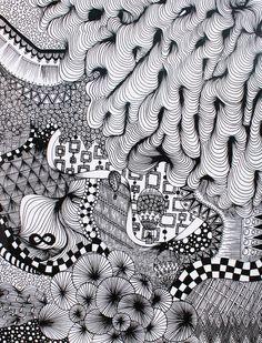 Zentangle by Student/Artist's Name: Lindsay Smithberg. School: Thunder Mountain High School. Grade: 11th