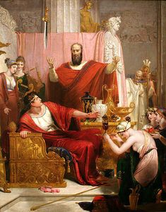 The Sword of Damocles 1812 Richard Westall January 1765 – 4 December was an English painter and illustrator of portraits, historical and literary events, best known for his portraits of Byron. He was also Queen Victoria's drawing master. Richard Doyle, Hans Thoma, Library Of Alexandria, Ancient Rome, Greek Mythology, Sword, Christianity, Oil On Canvas, At Least