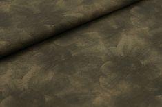 3edfe57ffe0c8 Baumwoll-Jerseystoff grauer Blumen-Aufdruck auf khaki