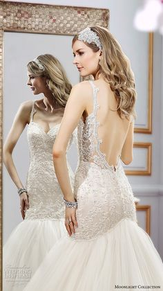 Moonlight collection spring 2016 wedding dresses beautiful mermaid gown trumpet lace thin spagetti strap sweetheart neckline embroidery lace low back j6400 back closeup