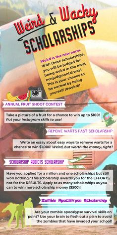 College Discover Weird & Wacky Scholarships Weird is the new norm. With these you will be judged for being weird in the most nonjudgmental way! This is your chance to be normal by being yourself ( High School Hacks, College Life Hacks, Life Hacks For School, School Study Tips, Scholarships For College Students, Student Loans, College Grants, Easy Scholarships, College Dorms