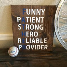 Reclaimed Wood Father Sign Fathers Day Sign Acrostic by WTGDesigns