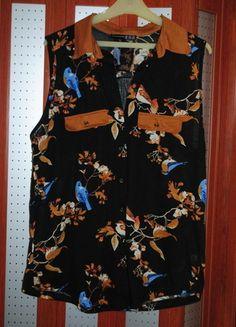Kup mój przedmiot na #vintedpl http://www.vinted.pl/damska-odziez/koszule/11895178-koszula-mgielka-czarna-w-ptaki-z-kolnierzem