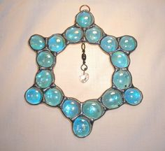 LT Stained glass nugget and crystal suncatcher light catcher made with iridescent glass nuggets