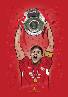 Kieran Carroll Design — Steven Gerrard lifting the Champions league trophy. Liverpool Poster, Anfield Liverpool, Liverpool Fc Wallpaper, Liverpool Wallpapers, Liverpool Kop, Liverpool Tattoo, Liverpool Champions League, Liverpool Players, Liverpool Football Club