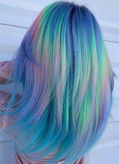 Unique Color Hairstyles Ideas in 2019 Cute Hair Colors, Pretty Hair Color, Beautiful Hair Color, Hair Dye Colors, Pastel Purple Hair, Hair Color Purple, Neon Hair, Aesthetic Hair, Mermaid Hair