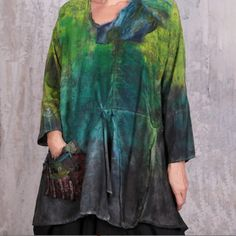 One of a kind hand-painted A-line, asymmetrical tunic in lovely shades of green, teal, and deep grey. It features an asymmetrical V neck and a large mixed-fabric pocket. Silk. #shibori #silk #artisanmade #arttowear #handmade #fiberart #fashion White Highlights, Silk Tunic, Black Vest, Shibori, Shades Of Green, Tie Dye, Cover Up, Teal, Blue And White
