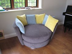 Swivel snug chair in Kirkby House – Crush K5033/11 Cinder ( scatters were in K5033/64 Perdoit & K5033/65 porcelain).