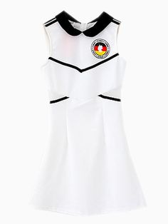 White Lapel Contrast Gauze Hollow Bodycon Dress | Choies I love Germany