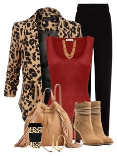 """TOUCH OF LEOPARD IN THE OFFICE"" by arjanadesign ❤ liked on Polyvore featuring Balenciaga, LE3NO, American Vintage, Michael Kors, Steve Madden, Kenneth Cole and C.R. Gibson"