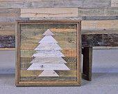 Reclaimed Wood Wall Hanging, Mosaic Wood Art, Rustic Christmas Decor, Wood Wall Art