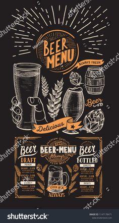 Beer drink menu for restaurant and cafe. Design template with on chalkboard background hand-drawn graphic illustrations. Vector beverage flyer for bar. Menu Restaurant, Herbalife Shake Recipes, Blackboard Art, Bar Logo, Bar Art, Coffee Poster, Drink Menu, Menu Cards, Cafe Bar