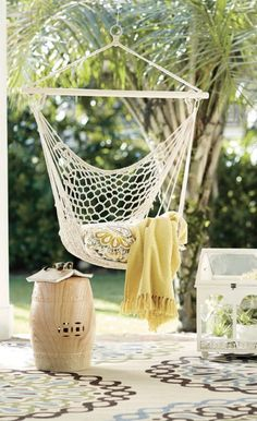 Woven Cotton Chair Hammock- I LOVE THIS!!!!! I NEED THIS!!!! #chairhammock #need {aff}