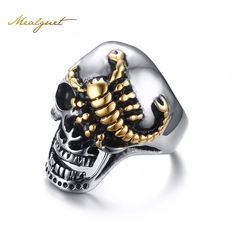 Meaeguet 30mm escorpión arrastrándose de oro de acero inoxidable de los hombres de moda anillo del cráneo del motorista punky de la joyería tamaño 8-12