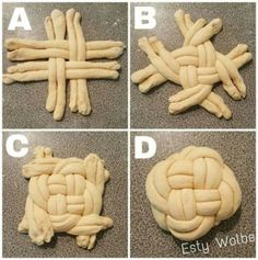 How to braid round challah: – Gesundes Abendessen, Vegetarische Rezepte, Vegane Desserts, Bread Art, Bread Shaping, Braided Bread, Cuisine Diverse, Jewish Recipes, Bread And Pastries, Bread Rolls, How To Make Bread, Sweet Bread