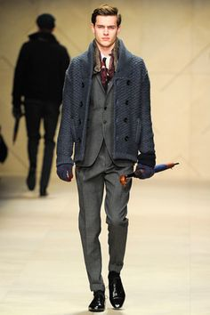 Key trend layering knitwear as seen at #Burberry Prorsum