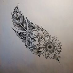 Tattoo Commission for Lucia. Feathers and Flowers and all the pretty things…
