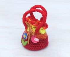 Little Handbag Bag for Small Lady Bag with Bird and Flower Red Orange Yellow Boho Crochet Purse Hippie Eco friendly - pinned by pin4etsy.com