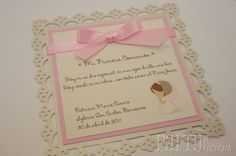 Partylicious: {First Holy Communion} First Communion Cards, First Communion Favors, First Communion Invitations, Baptism Invitations, First Holy Communion, Boy Baptism, Christening, Envelopes, Communion Centerpieces