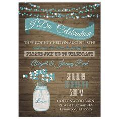 Wildflower I Do BBQ Post Wedding Reception Only Invitation Mason Jar
