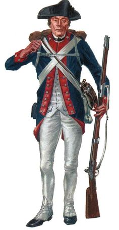 US continental Army Regular. Americas first army. Sporting the Red blue and white. Which would make up the US flag later.    Google Image Result for http://www.oocities.org/gmierka/graphics/private.jpg