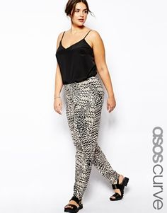 Peg Trouser In Abstract Mono Print - paired with a heeled gladiator sandal - perfect for summer!