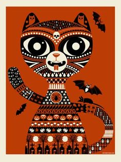 HALLOWEEN CAT | Limited Edition Art Posters Archives - Methane Studios