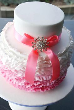 Pink Ombre Frills Cake with a Jeweled Pink Bow
