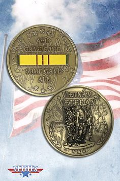 Challenge coins for veterans of Vietnam war. Get one for you or for a friend.