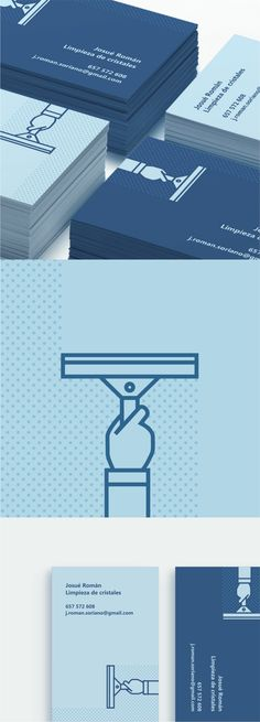 Josué Román, Limpieza de cristales. Diseño de tarjetas de visita