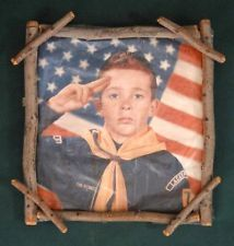 Idea..take photo of Scout in front of Flag, have boys make frame from twigs