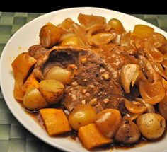 Moroccan Lamb with Butternut Squash, Onions and Potatoes, done in the slow cooker - a one-pot dinner