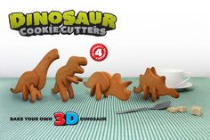 3D Dinosaur Cookie Cutters : Bake your own 3D Dinosaurs