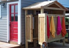 A collection of some of the many outdoor showers our customers have built over the years -- crafted out of bamboo fencing and perfect for warm days.