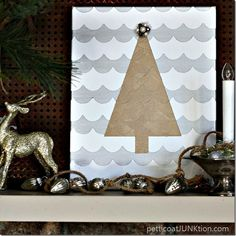 Silver and Gold Metallic Christmas Tree Wall art Petticoat Junktion 2