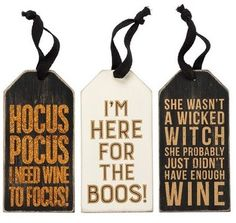 PRIMITIVES BY KATHY Halloween Bottle Tags (Set of 3) Halloween Food For Party, Halloween Home Decor, Halloween Gifts, Halloween House, Halloween Projects, Happy Halloween, Halloween Decorations, Wine Bottle Tags, Wine Tags