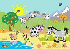 Landscape With Farm Cartoon Animals - Download From Over 23 Million High Quality Stock Photos, Images, Vectors. Sign up for FREE today. Image: 26460652