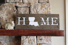 Louisiana HOME - Reclaimed Wood Sign, Louisiana State University, Louisiana Tech, Tigers, Bulldogs, State Map, Silhouette, Hand-painted, LA by elhdesign77 on Etsy https://www.etsy.com/listing/224458475/louisiana-home-reclaimed-wood-sign