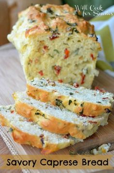 Savory Caprese Bread (no yeast; fresh basil, fresh mozzarella cheese, sun-dried or oven roasted tomatoes)