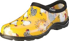 5c3c8f83 Sloggers Chicken Print Collection Women's Rain & Garden Shoe, Size Daffodil  Yellow Slip-on rain-and-garden shoe with waterproof rubber upper featuring  ...