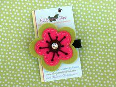 Sophia -Lime and Pink Felt Flower Hair Clip - Girls Hair Clips / Flower Clips / Felt Hair Clips. $4.50, via Etsy.