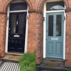 Victorian front door refurb job in Farrow & Ball Oval Room Blue ...