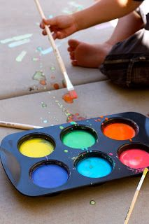 Liquid sidewalk chalk:  mix 1 cup of water with 1 cup of cornstarch. Then pour it into muffin tins or small cups. Then add food coloring to make the colors you would like. use  Wilton food coloring gel for vibrant colors.