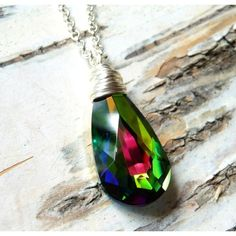 Swarovski Rainbow Prism Crystal Necklace, Green Prism Swarovski... ($30) ❤ liked on Polyvore